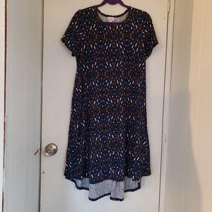 Lularoe navy arrow print dress high/low Size Large